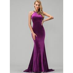Trompete/Sereia Decote redondo Sweep/Brush trem Veludo Vestido de baile (018192370)
