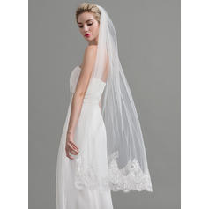 Waltz Bridal Veils Tulle One-tier Classic With Lace Applique Edge Wedding Veils