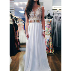 Chiffon Sleeveless A-Line/Princess Prom Dresses V-neck Sash Beading Sequins Floor-Length