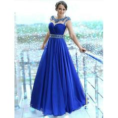 A-Line/Princess Scalloped Neck Floor-Length Prom Dresses With Beading
