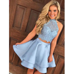 A-Line/Princess Short/Mini Homecoming Dresses High Neck Satin Sleeveless