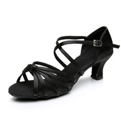 Women's Latin Heels Sandals Satin Dance Shoes