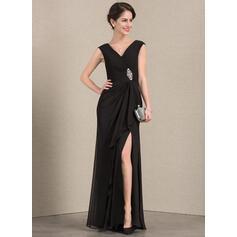 A-Line/Princess V-neck Floor-Length Chiffon Evening Dress With Beading Split Front Cascading Ruffles (017164934)