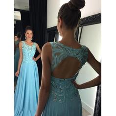 A-Line/Princess Scoop Neck Chiffon Sleeveless Floor-Length Appliques Lace Evening Dresses