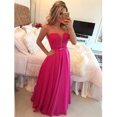 A-Line/Princess Scoop Neck Floor-Length Evening Dresses With Beading Bow(s)