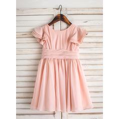 A-Line/Princess Knee-length Flower Girl Dress - Chiffon Short Sleeves Scoop Neck (010092601)