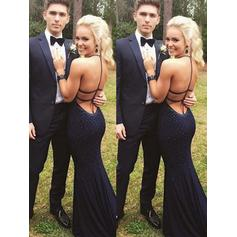 Jersey Sleeveless Sheath/Column Prom Dresses Halter Beading Sweep Train