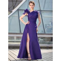 Corte A/Princesa Gasa Manga corta Hasta el suelo Cremallera Vestidos de madrina (008213148)