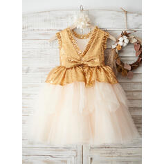 A-Line/Princess Knee-length Flower Girl Dress - Tulle/Sequined Sleeveless Scoop Neck With Bow(s)/V Back