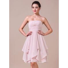 A-Line Strapless Knee-Length Chiffon Bridesmaid Dress With Cascading Ruffles (007042274)