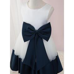 Robe Marquise/Princesse Longueur genou Robes à Fleurs pour Filles - Satiné/Tulle Sans manches Col rond avec À ruban(s) (010207226)