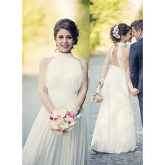 A-Line/Princess Chiffon Sleeveless Halter Floor-Length Wedding Dresses