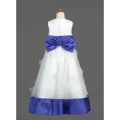 Hasta el suelo Escote redondo Organdí/Satén Vestidos para niña de arras con Fajas/Lazo(s) (010007468)