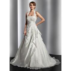 Modern Halter A-Line/Princess Wedding Dresses Court Train Taffeta Sleeveless