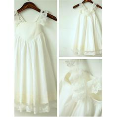 Straps A-Line/Princess Flower Girl Dresses Chiffon Ruffles Sleeveless Tea-length