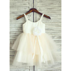 Forme Princesse Longueur genou Robes à Fleurs pour Filles - Tulle Sans manches Bretelles avec Fleur(s) (010105773)