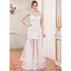 Halagador Sin mangas Corazón con Tul Encaje Vestidos de novia (002210556)