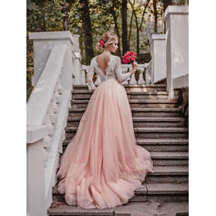 Ball-Gown Tulle 3/4 Length Sleeves V-neck Court Train Wedding Dresses (002144950)