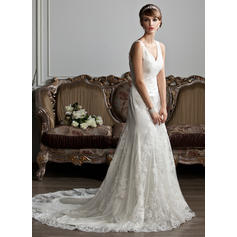 Trumpet/Mermaid Sweetheart Court Train Wedding Dresses With Ruffle Lace (002213257)