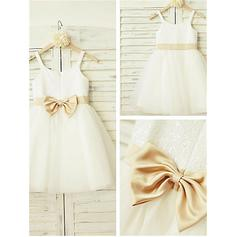 Scoop Neck A-Line/Princess Flower Girl Dresses Bow(s) Sleeveless Knee-length