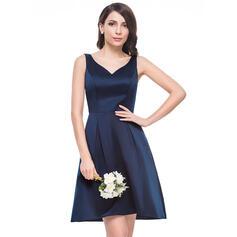 A-Line V-neck Knee-Length Satin Bridesmaid Dress