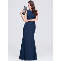 Sheath/Column Scoop Neck Floor-Length Chiffon Evening Dress With Ruffle (017074675)