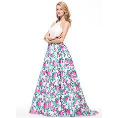 Sin mangas Corte A/Princesa Encaje Cabestro Vestidos de baile de promoción (018076007)