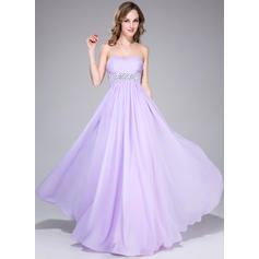 Chiffon Sleeveless Empire Prom Dresses Sweetheart Ruffle Beading Sequins Floor-Length