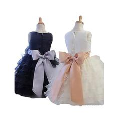 Escote redondo Corte de baile Vestidos para niña de arras Tul Fajas/Flores Sin mangas Hasta la rodilla (010211790)