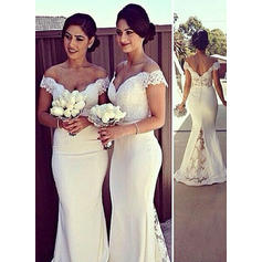 Off-The-Shoulder Trumpet/Mermaid Wedding Dresses Satin Sleeveless Sweep Train