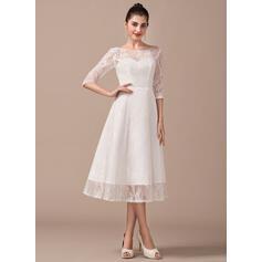 longueur de genou robes de mariée pour la mariée