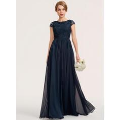 A-Line Scoop Neck Floor-Length Chiffon Lace Bridesmaid Dress (007190717)