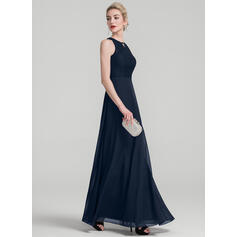 A-Line/Princess Scoop Neck Floor-Length Chiffon Evening Dress (017126291)