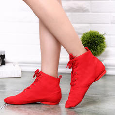 Women's Jazz Boots Canvas With Lace-up Dance Shoes