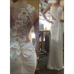 Trumpet/Mermaid Scoop Sweep Train Wedding Dresses With Ruffle Beading Bow(s)