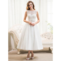 De baile Decote redondo Comprimento médio Tule Renda Vestido de noiva com Beading lantejoulas (002054369)