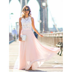 A-Line/Princess Scoop Neck Chiffon Sleeveless Floor-Length Lace Evening Dresses