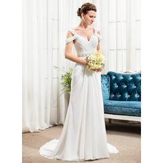 A-Line/Princess V-neck Court Train Chiffon Wedding Dress With Ruffle Beading Sequins (002056243)