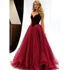 A-Line/Princess Sleeveless Tulle Prom Dresses (018147003)