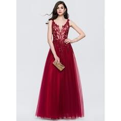 Vestidos princesa/ Formato A Decote V Longos Tule Vestido de baile com Renda lantejoulas (018146339)
