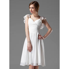 A-Line/Princess Chiffon Bridesmaid Dresses Beading Cascading Ruffles V-neck Sleeveless Knee-Length (007004117)