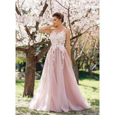 A-Line/Princess Tulle Prom Dresses Appliques Lace Sleeveless Floor-Length
