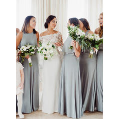 A-Line/Princess Cascading Ruffles Chiffon Sleeveless Bridesmaid Dresses
