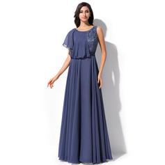 Elegant Chiffon Lace A-Line/Princess Zipper Up Evening Dresses (017052649)