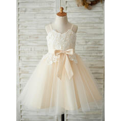 A-Line/Princess Knee-length Flower Girl Dress - Satin/Tulle/Lace Sleeveless Straps With Bow(s) (Undetachable sash) (010131715)