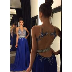 A-Line/Princess Chiffon Prom Dresses Lace Beading Scoop Neck Sleeveless Court Train