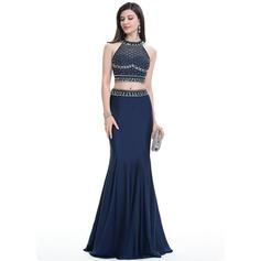 Jersey Cuentas Lentejuelas Escote redondo Sin mangas Vestidos de baile de promoción (018112784)
