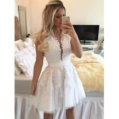 A-Line/Princess V-neck Short/Mini Homecoming Dresses With Sash Beading