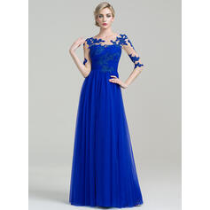 A-Line/Princess Scoop Neck Floor-Length Tulle Mother of the Bride Dress With Ruffle Appliques Lace