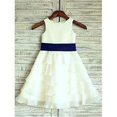 A-Line/Princess Scoop Neck Tea-length With Ruffles/Flower(s) Chiffon/Satin Flower Girl Dresses